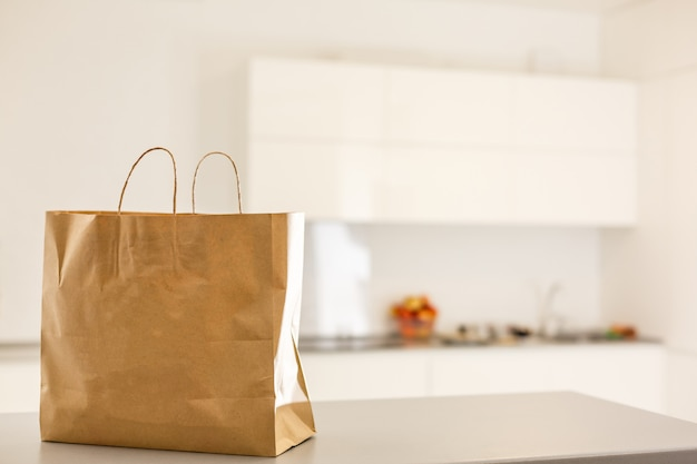 Paper bag on the kitchen table