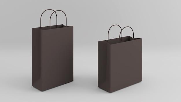 白い背景に分離された広告またはブランディングのための白い背景に茶色の紙袋のモックアップ