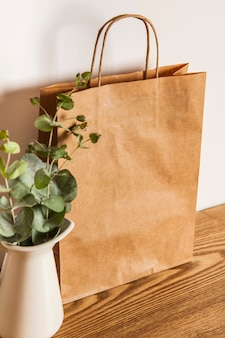 Paper bag and plant on wooden surface