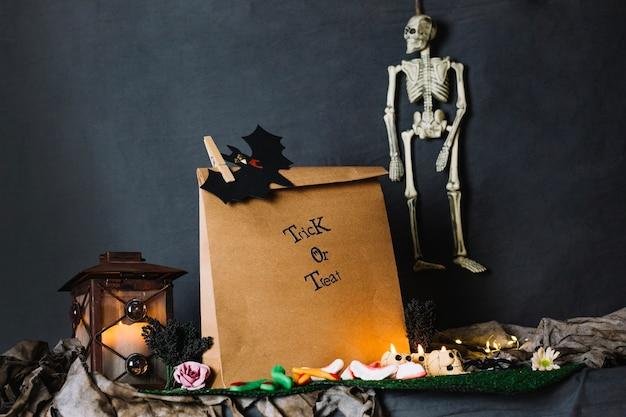 Paper bag and skeleton
