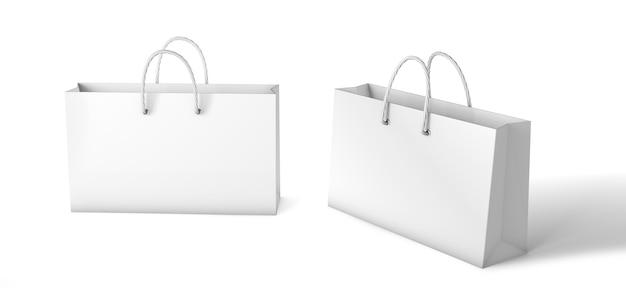 紙袋テンプレート。白の背景に分離された低白パッケージモックアップ。 3dレンダリング