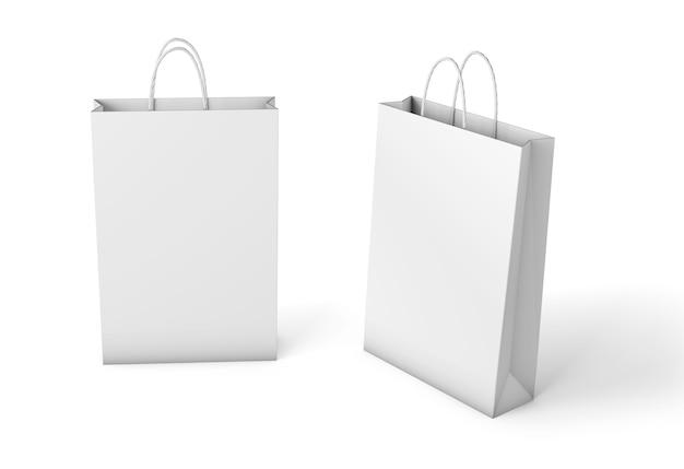 紙袋テンプレート。白い背景で隔離のモックアップ。 3dレンダリング