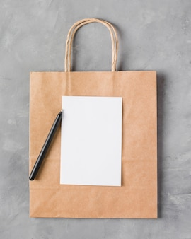 Paper bag with blank paper