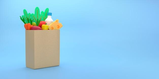 Бумажный пакет с едой в мультяшном стиле.
