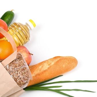 흰색에 격리 격리 기간 동안 음식 공급 종이 봉투