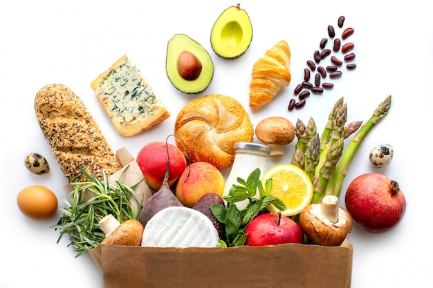 Paper bag with healthy food. healthy food background.supermarket food concept.shopping at the supermarket.home delivery