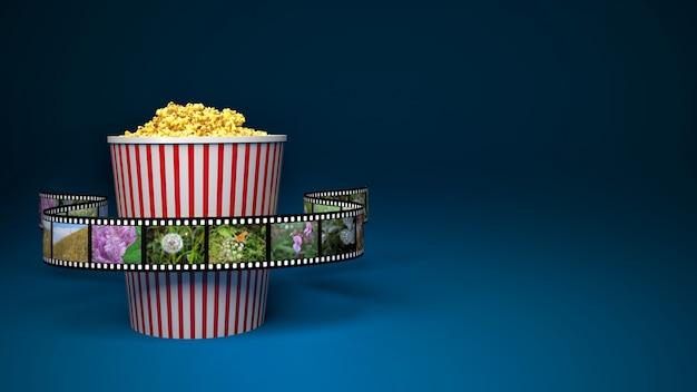 Бумажный пакет с попкорном и кинолентой