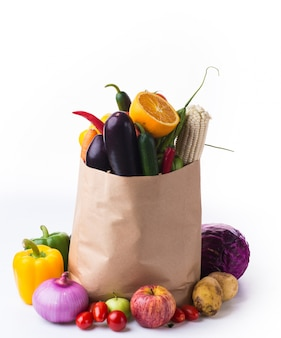 Paper bag with vegetables