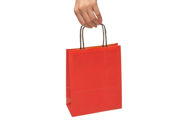 Paper bag in woman hands isolated on white