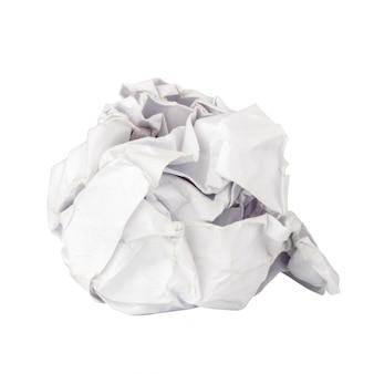 白で隔離される紙のボール