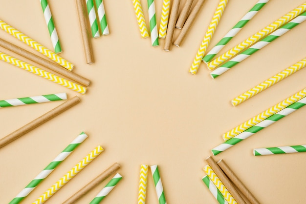 Paper and bamboo eco straws copy space