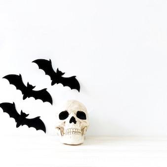 Paper bats near skull