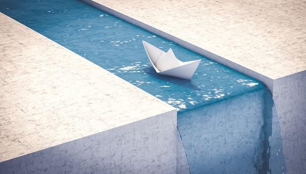 滝に向かって航海する紙の船。予期しない問題の概念。 3dレンダリング。
