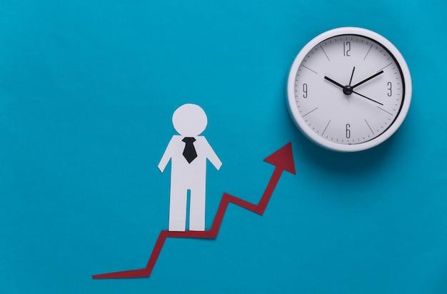 Бумажный деловой человек на стрелке роста и калькуляторе. синий. символ финансового и социального успеха, лестница к прогрессу