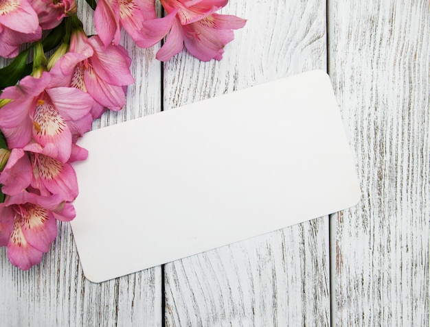 Paper card with alstroemeria flowers
