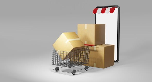 종이팩 또는 소포 및 쇼핑 카트. 온라인 쇼핑 스토어, 3d 렌더링