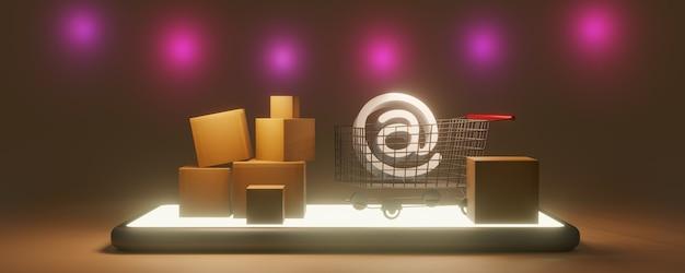 종이팩 또는 소포 및 쇼핑 카트. 스마트 폰, 3d 렌더링으로 온라인 쇼핑 스토어
