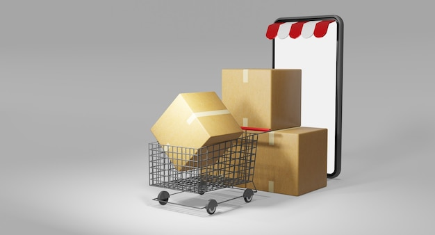 Paper cartons or parcel and a shopping cart. online shopping store , 3d rendering