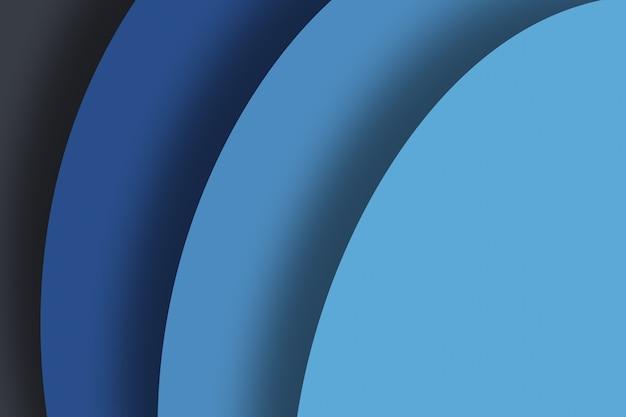 纸雕刻艺术抽象波浪背景深蓝色的设计模板插图