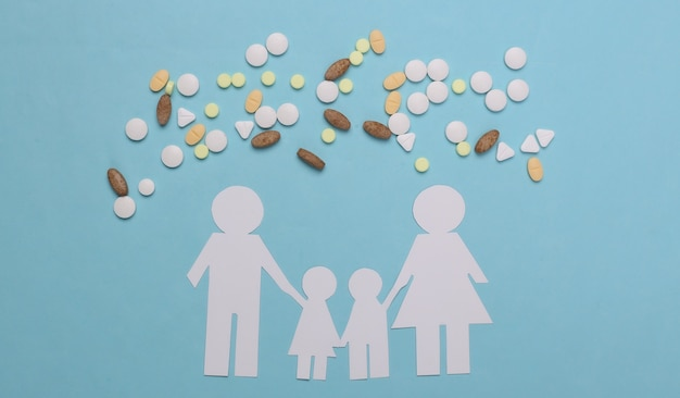 Семья бумажной цепи, таблетки на синем, концепция медицинского страхования