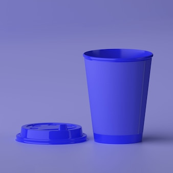 Paper coffee cup 3d design mockup blue cup
