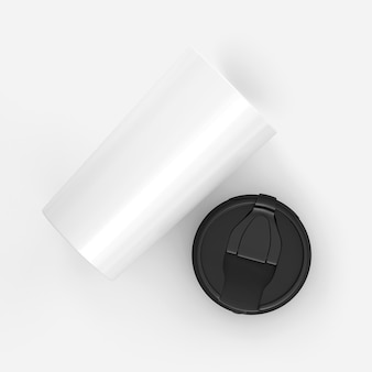 3d 렌더링 흰색 배경에 고립 된 검은 뚜껑 종이 커피 컵, 귀하의 프로젝트에 대 한 조롱