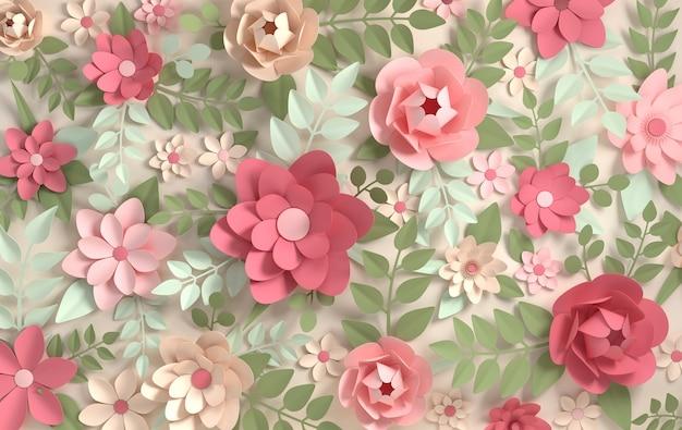 紙の色とりどりの花。バレンタインデー、イースター、母の日、結婚式のグリーティングカード