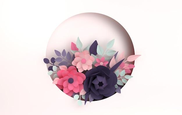 紙の色とりどりの花