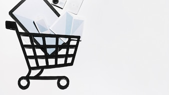 Paper composition with devices in shopping cart