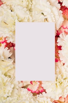 Paper copy space on white carnations