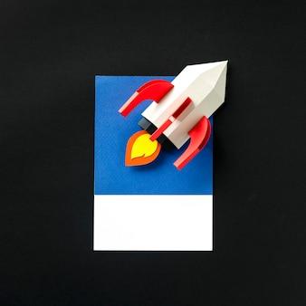 ロケット船のペーパークラフトアート