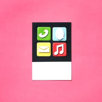 アプリとメディアのアイコンの紙工芸品アート