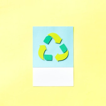 Paper craft art of recycle icon