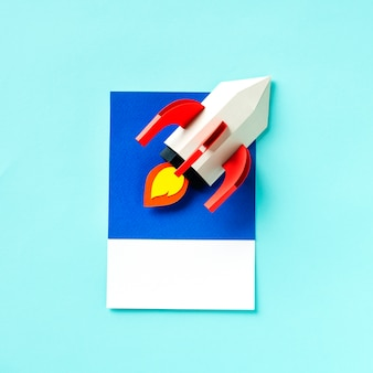 Paper craft art of a rocket ship
