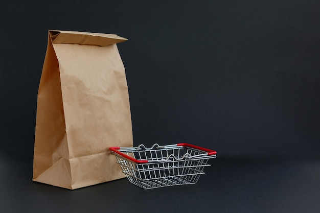 Paper craft bag for shopping and small grocery basket