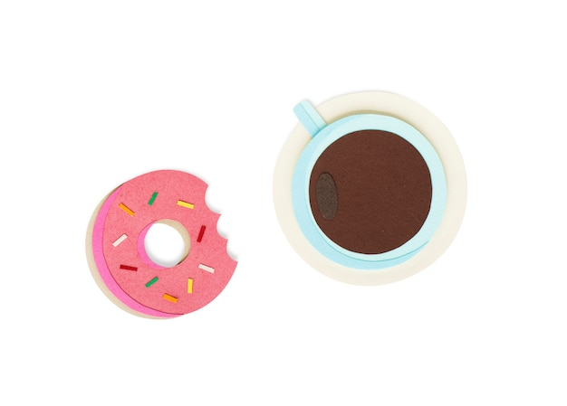 Paper craft design of coffee cup and donut icon