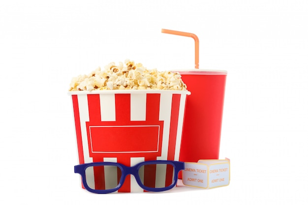Paper cup, bucket with popcorn, tickets and glasses isolated on white background