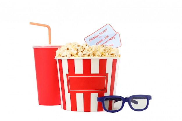 Paper cup, bucket with popcorn and tickets, glasses isolated on white background