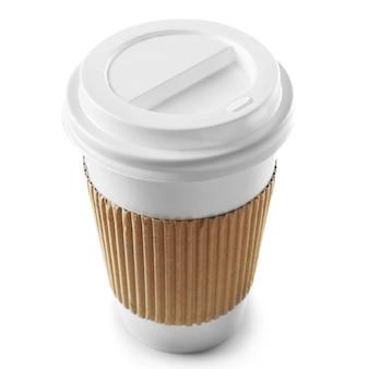 Paper cup of coffee on white