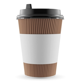 Paper cup mockup isolated on white background. empty white disposable paper cup with black plastic lid. 3d rendering.