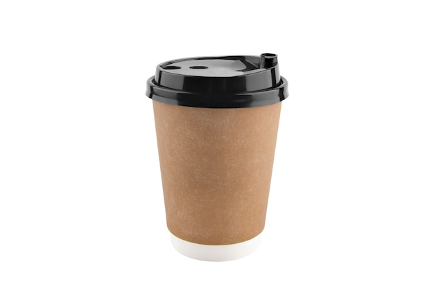 Paper cup with black lid for coffee  isolated