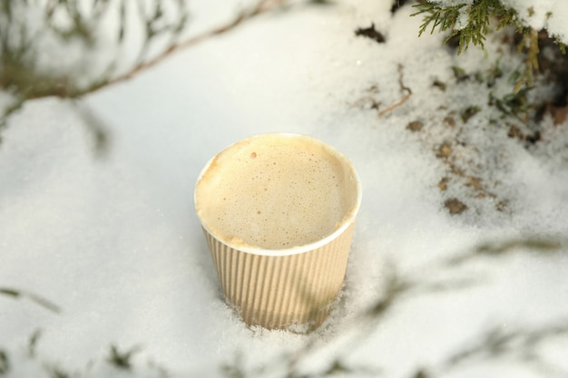 Paper cup with coffee outdoor in winter