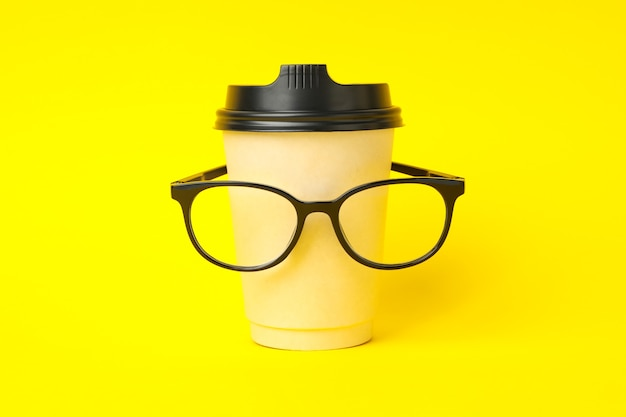 Paper cup with glasses