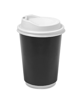 Paper cup with plastic lid isolated on white