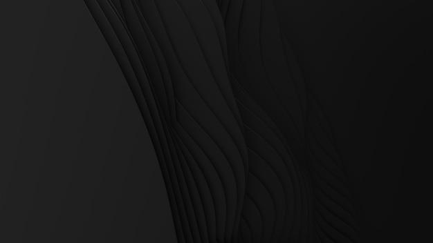 ペーパーカットの抽象的な背景。 3dクリーンダークカービングアート。ペーパークラフトの黒い波。ビジネスプレゼンテーションのためのミニマルでモダンなデザイン。