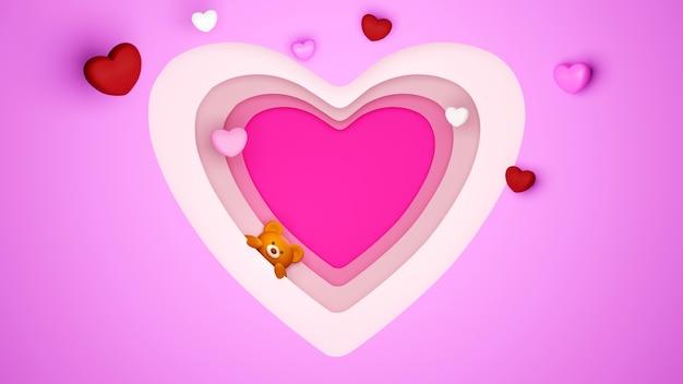행복 한 여자, 아빠 엄마, 달콤한 마음, 배너 또는 브로셔 생일 인사말 선물 카드 디자인에 대 한 분홍색 배경 축 하 개념에 종이 잘라 및 테 디 베어