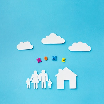Paper cut family concept with clouds