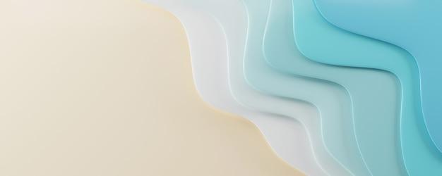 紙カット水波形状スタイル海パターン3dレンダリングイラスト