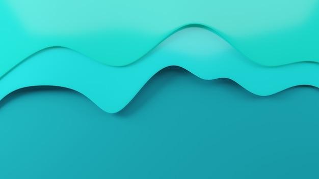 紙カット水の波の形スタイル海のパターン現代の折り紙デザインテンプレート3dレンダリング