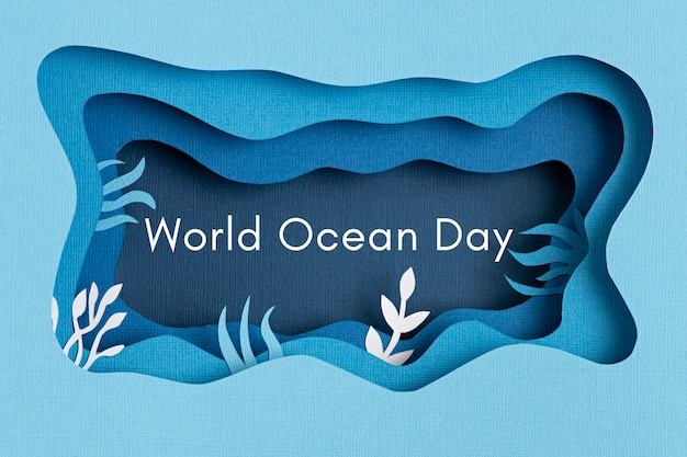 Paper cut for world ocean day deep underwater sea. blue marine life. save the oceans papercut with fish and seaweeds on blue sea water wall. environment care and nature protection.